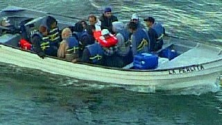 A panga boat, often used by illegal immigrants from Mexico