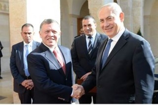 Netanyahu with King Abdullah II -- both leaders agreed to increase coordination between the Israeli government and the Jordanian Waqf, which runs the Al-Aqsa mosque in Temple Mount, a complex Israel annexed amid the 1967 Mideast War. Israel and Jordan signed a peace treaty in 1994.