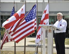 Then-Senator Richard Lugar (R-Ind.) gives a speech during a ceremony renaming the Lugar Center for Public Health Research in his honor, near Tbilisi, Georgia in August 2012.
