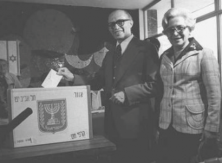 Menachem Begin casting his ballot in the Israeli Election of 1977 which Likud won.