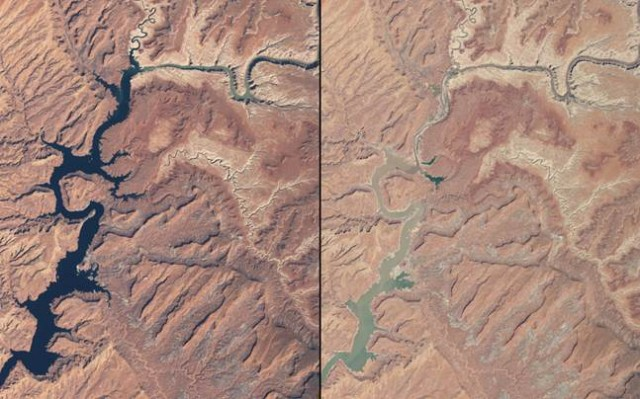 Prolonged drought has also caused a dramatic drop in Lake Powell's water level. Lake Powell is another Southwestern reservoir that supplies water to millions of homes in Arizona and Utah. These NASA images show the northern part of the lake, which is actually a deep, narrow, meandering reservoir that extends from Arizona upstream into southern Utah. The left image, from 1999, shows water levels near full capacity. The image on the right, taken in May 2014, shows the lake has dropped to 42 percent of capacity.