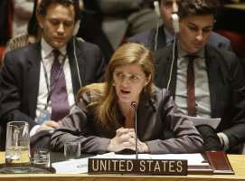 Samantha Power, the United States' ambassador to the United Nations speaks during a meeting of the U.N. Security Council Tuesday, Dec. 30, 2014