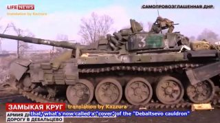 The roads out of Debaltsevo are littered