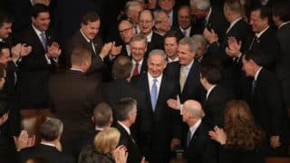 Netanyahu greeted by Congressional supporters