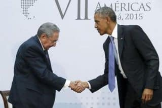 President Barack Obama shakes hands with Cuba's President Raul Castro, April 2015
