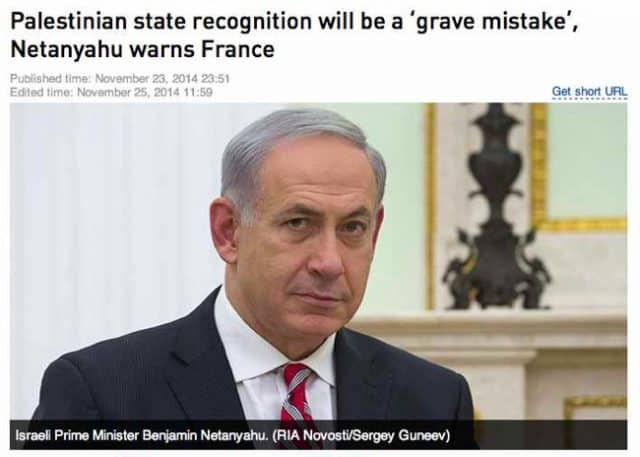 """""""We need to remember the threats of Benjamin Netanyahu, who announced in no uncertain terms that if France recognized the existence of Palestine we would have terrorist attacks in France. He declared to the French people on August 7th, 2014, in an interview with i-Télé: """"This is not Israel's battle. It is your battle, it is France's battle. It they succeed here, if Israel is criticized instead of the terrorists, if we do not stand in solidarity, this plague of terrorism will come to your country."""" If we do not understand Netanyahu's statement as a disguised threat, it is absurd, since there is obviously no reason why recognizing Palestine 113 TEN: SORAL and standing in solidarity with Gaza would provoke Islamist attacks in France. But there is every reason why it would provoke reprisals from Israel. It is at the very least bizarre that this """"prediction"""" or """"threat"""" from Netanyahu—who is leading today's march—should come true."""" Alain Soral, in the book We Are NOT Charlie Hebdo!"""