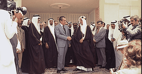US President Richard Nixon and Saudi Arabia's King Feisal Negotiate the Basis of the Saudi-American Petrodollars Prolonging the Viability of US Money as the Core Currency of International Trade.
