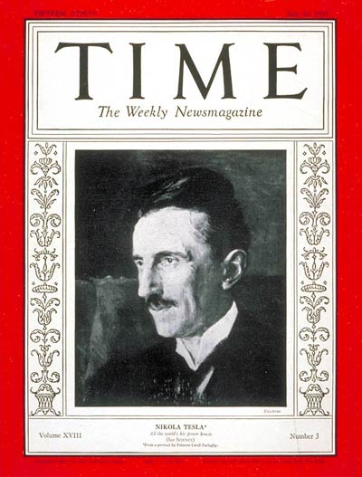 Nikola Tesla on cover of Time Magazine in 1931.