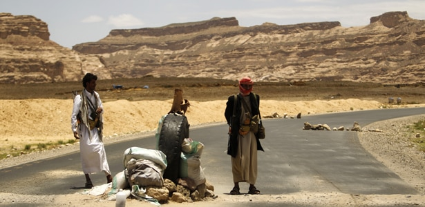 """A """"lightly defended"""" checkpoint in Yemen"""