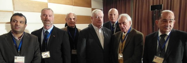 Syrian Counter-Terrorism conference, Damascus, Dec. 2015...Founding members (center) Mike Harris, Jim Dean, Gordon Duff, Col, Jim Hanke