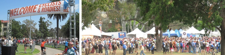 5,000 attendees at the annual AIDS Bicycle fundraiser held on the Grand Lawn of the Los Angeles VA.