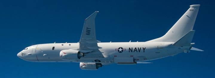 A Navy P-8 Poseidon aircraft on patrol