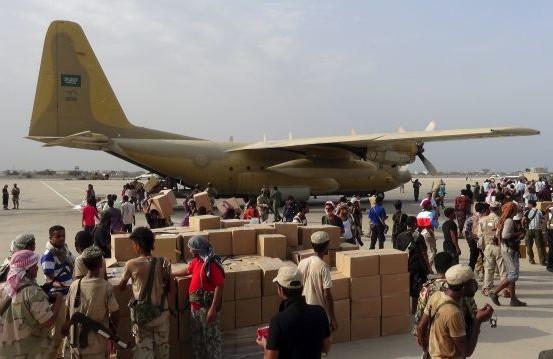 Saudi plane unloads military supplies in recently captured Aden airport