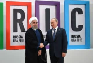 Rouhani and Putin at the 2015 BRICS Summit in Ufa, Russia