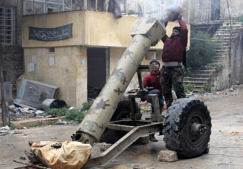 Turkish backed terrorists barrelbombing civilians inside Syria