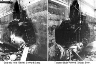 Torpedo holes in the USS Liberty, 1967