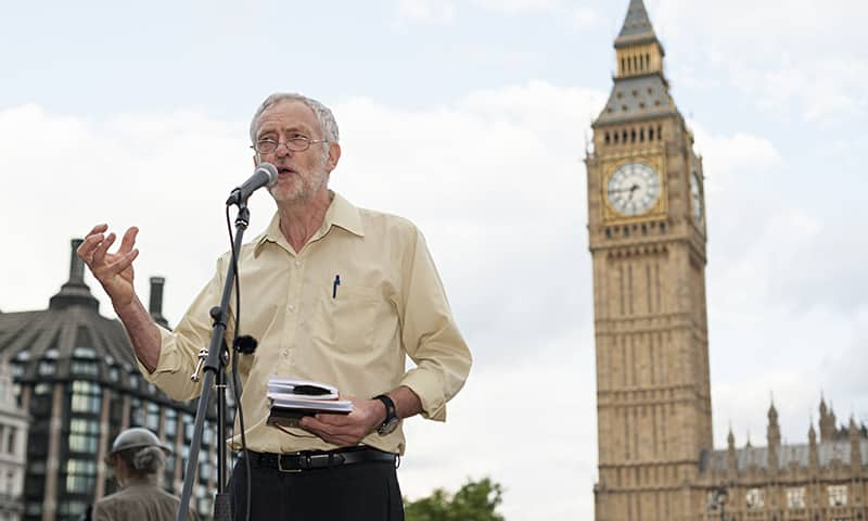 Jeremy Corbyn speaking at an anti-war event last year.