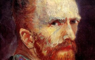 A darkened Vincent, after he had taken his ear, starring death in the eye