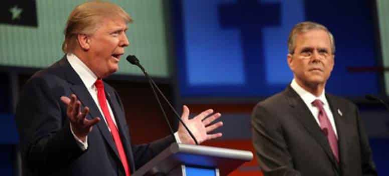 Donald the Brash and the Jeb the Toad playing their respective political roles in Republican Presidential primaries.