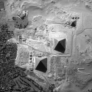 Overhead view of Giza Plateau North is at the bottom