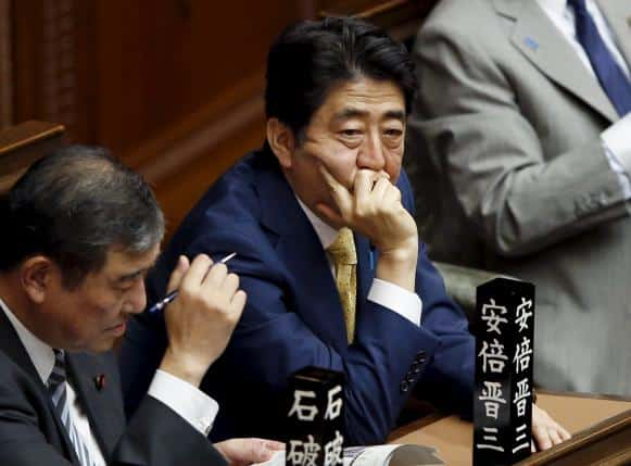 Japan's Prime Minister Shinzo Abe attends the lower house plenary session at the parliament in Tokyo July 16, 2015. REUTERS/Toru Hanai