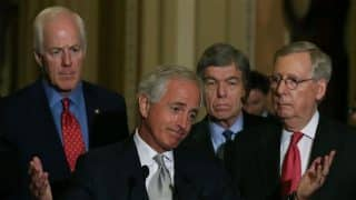 US Senate Foreign relations Chairman Bob Corker (R-KY) (C) speaks while flanked by Senate Majority Leader Mitch McConnell (R-KY) (R), Sen. John Cornyn (R-TX) (L) and Sen. Roy Blunt (R-MO) during a news conference after the Republican policy luncheon on Capitol Hill on September 16, 2015 in Washington, DC. (AFP photo)