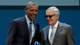 US President Barack Obama and Senate Minority Leader Harry Reid, August 2015