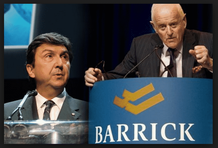 Peter Munk with Former University of Toronto President, David Naylor. Naylor Was Rewarded for the Sweetheart Deal He Negotiated in Secret in 2011 with the Gold Baron. Naylor Was Given a Lucrative Position on the Barrick Board for Services Rendered.