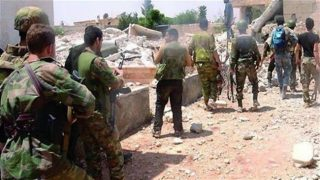 Syrian army forces are seen in the key southwestern city of Zabadani. (File photo)