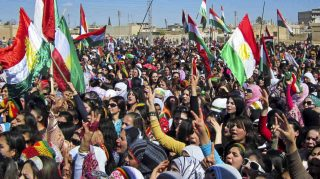 Syrian Kurds at a demonstration