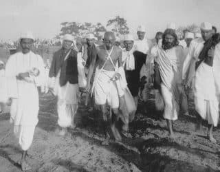 Gandhi during a protest march