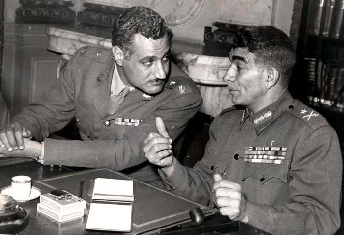 Nasser the man behind the coup with General Naguib as the figurehead