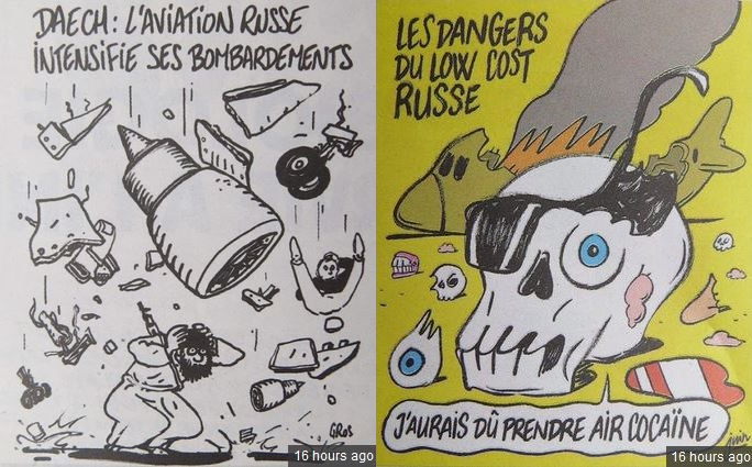 "Left: ""ISIS says the Russian Air Force is intensifying its bombing."" Right: ""The dangers of Russian low cost airlines: I should have taken Air Cocaine"" (reference to a French scandal)"