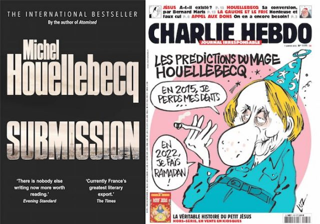 On the same day - 1/7/2015 - Houellebecq's novel was released, Charlie Hebdo featured him, and the magazine was attacked