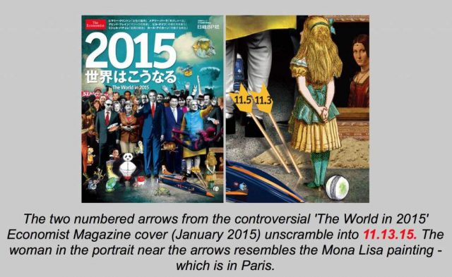 """Rothschild flagship """"Economist"""" magazine's """"predictive programing"""": Two false flag (Alice) attacks (arrows) in Paris (Mona Lisa). The numbers on the arrows are a puzzle with a single unique solution - they can form no 2015 date other than 11/13/15, the date of the Friday the 13th massacre"""