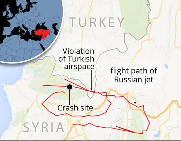 Map supplied by al Jazeera shows plane downed over Syria
