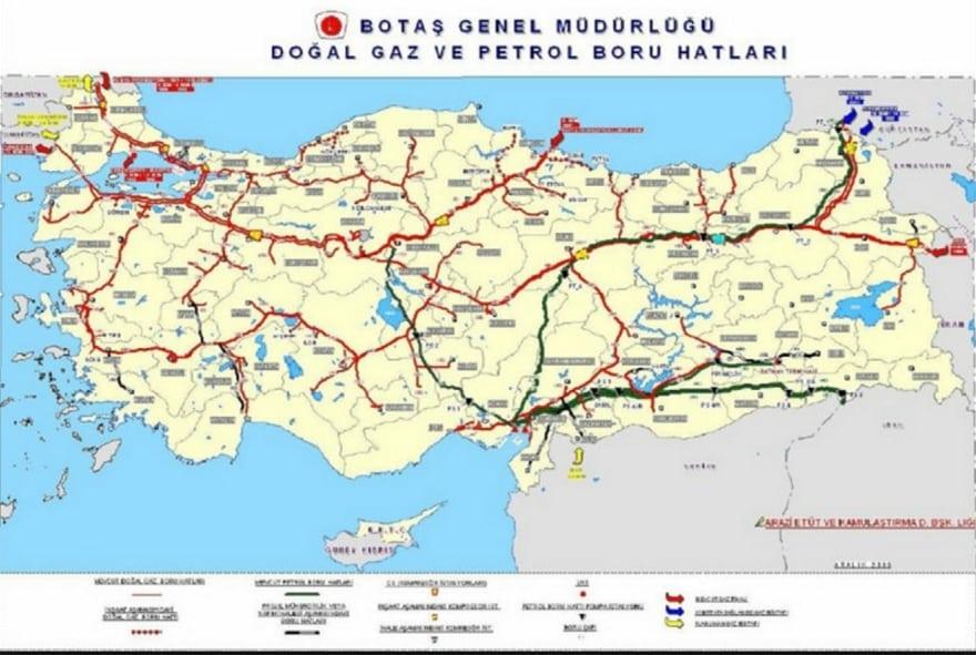 Turkish pipeline map